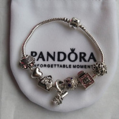 Bratara PANDORA cu 7 charm-uri - placata cu argint 925 - model CHIC FASHION - Bratara argint pandora, Femei
