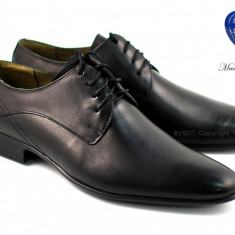 Pantofi barbati lux - eleganti din piele naturala negri cu siret - Model Palermo - Pantof barbat, Marime: 39, 40, 41, 42, 43, 44
