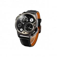 Ceas militar Oulm Quartz Dual Time 3578 cu design Chronograph, negru - Ceas barbatesc