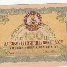 Bon de 100 lei - Participatie la constituirea fondului social RPR, din anul 1960