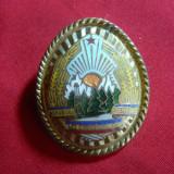 Insigna de Sapca Ofiter -inainte de '89 , metal aurit si email , h= 3,6 cm