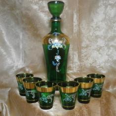 Set tarie sticla suflata, pictat manual Aur 24K, Italia, colectie