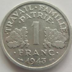 Moneda 1 Franc - FRANTA, anul 1943 *cod 3933 Allu.