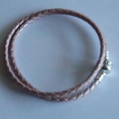 Bratara Pandora Moments argint si piele impletita roz -19 cm -590705 CMP-1122 - Bratara argint