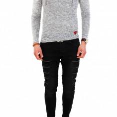 Bluza gri - bluza barbati - bluza slim fit - COLECTIE NOUA - 7833, Marime: M, L, XL, Culoare: Din imagine