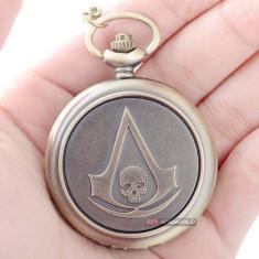Ceas de buzunar cu lant Quartz Assassin's Creed logo