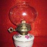 FELINAR / LAMPA DIN PORTELAN CU ABAJUR STICLA 24 CM