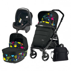Carucior 3 In 1, Peg Perego, Book Plus, Black Matt, Pop-Up Elite - Carucior copii 3 in 1