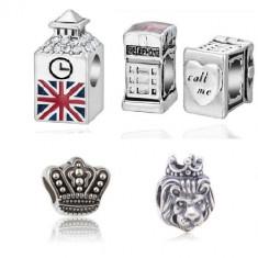 SET 4 Charm talisman CALATORII LONDRA - bratara Pandora turn cabina coroana - Bratara argint pandora, Femei