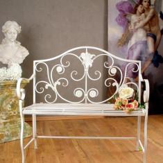BANCA VICTORIANA DIN FIER FORJAT ANTIK WHITE WIF002 - Banci de gradina