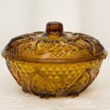 Bomboniera de sticla culoare maro