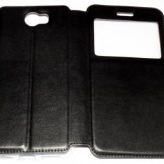 Husa Protectie Toc Flip Cover Huawei Y5 2 + Folie CADOU!!! - Husa Telefon Huawei, Negru, Piele Ecologica, Cu clapeta