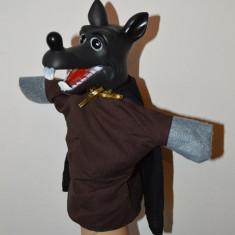 Marioneta papusa manuala teatru papusi, cap cauciuc corp textil, lup, - Jocuri arta si creatie