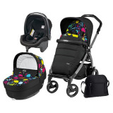 Carucior 3 In 1, Peg Perego, Book Plus 51 S, Black, Completo Elite, Peg Perego