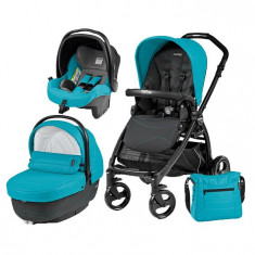 Carucior 3 In 1, Peg Perego, Book Plus, Black Matt, Sportivo Bloom - Carucior copii 3 in 1