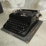 Masina de scris veche Optima, perfect functionala, carcasa originala de lemn