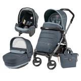 Carucior 3 In 1, Peg Perego, Book Plus 51, Black, Completo Elite, Peg Perego
