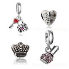 SET 4 Charm talisman I LOVE YOU CHIC - bratara Pandora - Bratara argint pandora, Femei