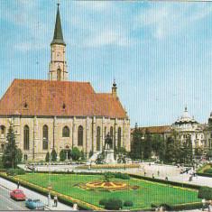 Bnk cp Cluj Napoca - Piata Libertatii - circulata - Carte Postala Transilvania dupa 1918, Printata