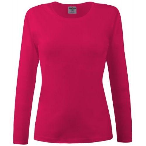 Bluza dama rosu siclam cu maneca lunga