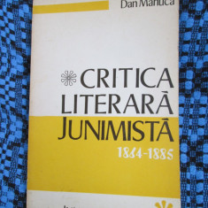 Dan MANUCA - CRITICA LITERARA JUNIMISTA 1864 - 1885