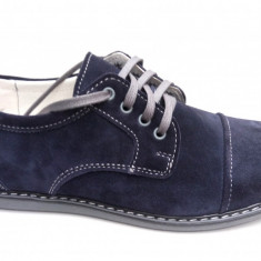 Pantofi casual barbati din piele naturala (intoarsa) bleumarin - Pantof barbat, Marime: 39, 40, 41, 42, 43, 44