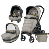 Carucior 3 In 1, Peg Perego, Book Plus, Black Matt, Completo Elite, Peg Perego