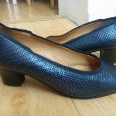 Pantofi din piele marimea 38, sunt noi! - Pantof dama, Culoare: Albastru, Piele naturala