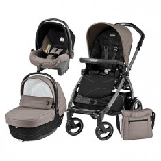 Carucior 3 In 1, Peg Perego, Book Plus 51 S, Black, Sportivo Bloom - Carucior copii 3 in 1