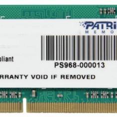 Patriot Signature 4 GB DDR3, 1333 MHz, CL 9, SODIMM, Non-ECC (PSD34G133381S) - Memorie RAM laptop