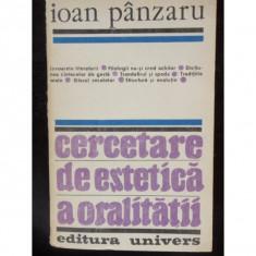 CERCETARE DE ESTETICA A ORALITATII - IOAN PANZARU