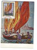 No(2)ilustrata maxima-NICOLAIE DARASCU-Barci la Venetia- prima zi 1971