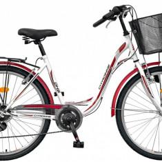 Bicicleta DHS Citadinne 2634 (2016) Culoare Alb/Negru/Roz 480mmPB Cod:21626344896 - Bicicleta de oras DHS, 12 inch, Otel