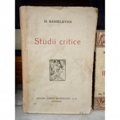 STUDII CRITICE, H.SANIELEVICI - Carte Ortopedie