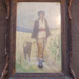 Pictura pe panza, semnata, veche - dimensiuni 45/28 (fara rama) - Pictor roman, Portrete, Ulei, Altul