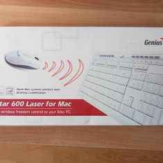 Kit Tastatura + Mouse Wireless pentru Mac Genius SlimStar 600 Laser., Fara fir, USB