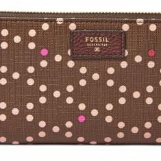 Fossil Sydney zip portofel dama maro nou 100% original. Livrare rapida., Cu inchizatoare