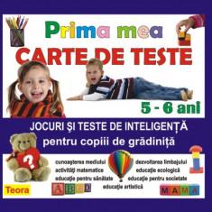 Prima mea carte de teste - pentru copiii de gradinita 5-6 ani, - Carte educativa, Trei
