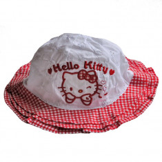 Palarioara de vara Hello Kitty alb cu rosu - Palarie Copii