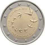 NOU - Slovenia moneda 2 euro 2017 - 10 ani Euro - UNC, Europa