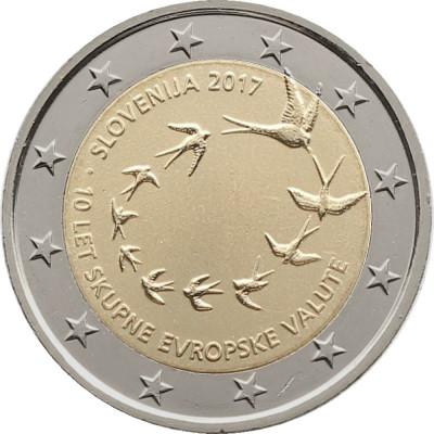 NOU - Slovenia moneda 2 euro 2017 - 10 ani Euro - UNC foto
