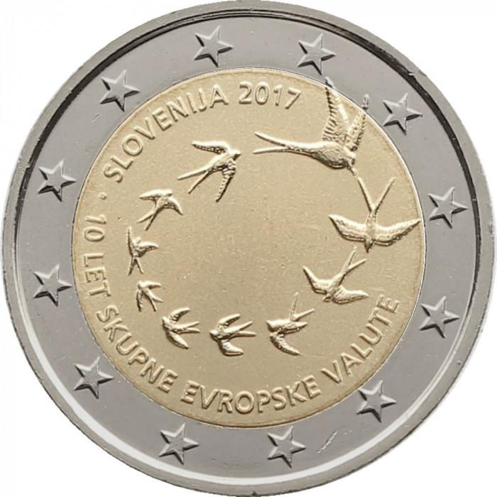 NOU - Slovenia moneda 2 euro 2017 - 10 ani Euro - UNC foto mare