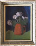 Superb tablou ulei in cutit, natura statica, semnat Scoala franceza 1947!, Realism