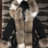 Geaca haina parka de dama cu blana naturala de raton