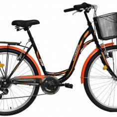 Bicicleta DHS Citadinne 2634 (2016) Culoare Negru/Alb/Galben 430mmPB Cod:21626344369 - Bicicleta de oras