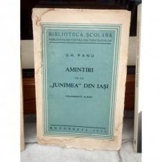 AMINTIRI DE LA 'JUNIMEA' DIN IASI, GH. PANU - Carte veche