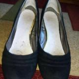 Pantofi negri din piele întoarsă - Pantof dama, Culoare: Negru, Marime: 38