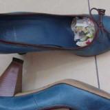 Pantofi dama din piele - Pantof dama, Culoare: Albastru, Marime: 38