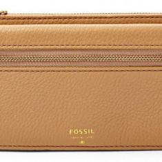 Fossil Preston Flip portofel dama bej nou 100% original. Livrare rapida., Cu inchizatoare