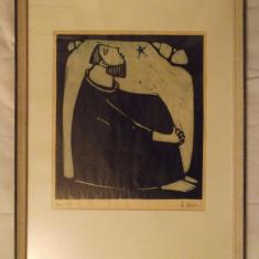 Tablou Grafica Pe Carton, Calugar Meditand, Scoala Germana! - Pictor strain, Scene gen, Cerneala, Impresionism